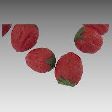Hand Painted Walnuts to Look Like Strawberries Fruit Felt Stem