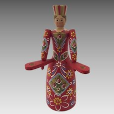 Folk Art Hand Painted Scandinavian Woman Candlestick Holder