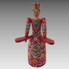 Folk Art Hand Painted Scandinavian Woman Candlestick Holder