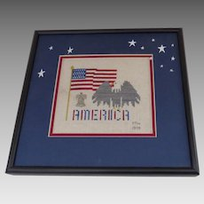 Vintage Hand Made Cross Stitch Needlework American Flag Eagle Liberty Bell Patriotic