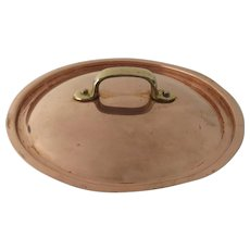 Vintage Copper Plated and Brass Handle Pan Pot Lid 8""