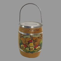 Vintage Wood Barrel Coin Bank Souvenir Holland Amsterdam Windmill