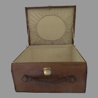 Early 1900's All Leather Luggage Small Case Hat (C)