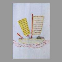 4 x Vintage Linen Embroidered Applique Finger Tip Hand Tea Towels Boats Chinese Junk