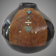 South Western Artist Signed Gourd Bowl Vase Robin Ann Hunter
