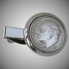 Vintage Tie Clip Clasp Bar 1957 Dime Roosevelt