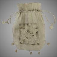 1900's Crochet Lace Reticule Pouch Bag Purse Drawstring