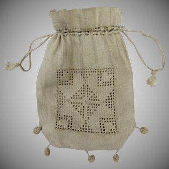 1900's Crochet Lace Reticule Pouch Bag Purse Drawstring