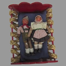 Vintage 1940 Stockinette Dolls and Painted Bed Bavarian Bauernmalerei Folk Art