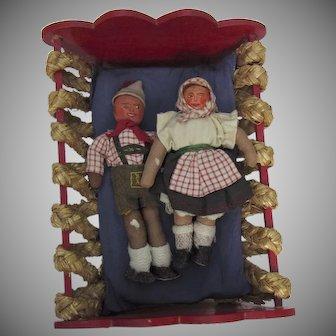 Vintage 1940 Stockinette Dolls and Painted Bed Bavarian Bauernmalerei Folk Art