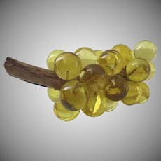Vintage Lucite Acrylic Large Yellow Grape Cluster Driftwood Stem