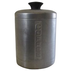Vintage 1950's Everbrite Canister Aluminum Made in Italy Coffee Canister