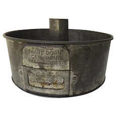 Vintage Swans Down Cake Flour Metal Bundt Pound Can Pan with Side Vents Bakeware Country Kitchen
