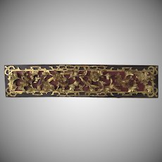 19th Century Carved Relief Bed Panel Chinese Gilt Red