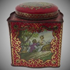 Vintage English Daher Tin with Romantic French Scenes and Serpentine Sides
