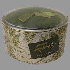 Vintage Faberge Aphrodisia Bath Powder Foil Paper Oval box
