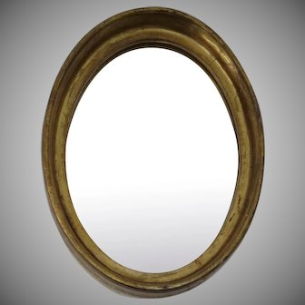 Vintage Small Gilt Florentine Oval Mirror