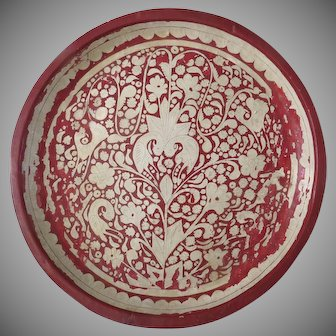 Large Vintage Papier Mache Tray Red and White India