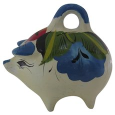 "Vintage Folk Art Hand Painted Piggy Bank ""Alcancia"" Made in Mexico"