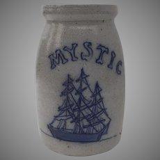 "Vintage 7"" Tall Stoneware Salt Glaze Crock Sailing Ship Mystic Country Kitchen"