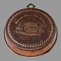 """Vintage Copper Food Mold """"Home is Where the Heart Is"""""""