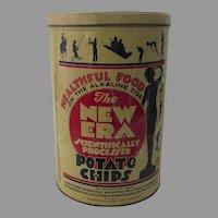 """Vintage """"New Era Potato Chips"""" Litho Tin Can"""