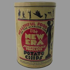"Vintage ""New Era Potato Chips"" Litho Tin Can"