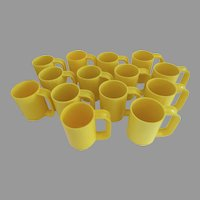 Pair Two (2) Vintage Yellow Heller Massimo Vignelli Maximums Mugs USA