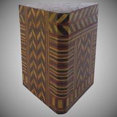 Vintage Wood Chevron Inlaid Triangular Box Humidor Caddy Folk Art