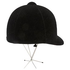 Vintage Black Velvet Hunter Horse Riding English Helmet