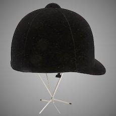 Vintage Black Velvet Hunter Horse Riding English Helmet