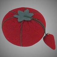 Vintage Tomato Pin Cushion with Strawberry Needle Sharpener
