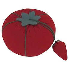 Vintage Tomato Pin Cushion with Strawberry Needle Sharpener