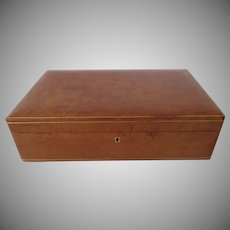 Vintage Italian Italy Saddle Colored Leather Jewelry Box with Shelf for Woodward & Lothrop Washington D.C.