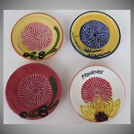 Set of Four French Provence Oil Dipping Garlic Cheese Grating Small Plates