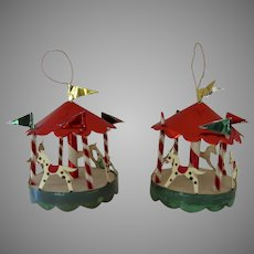 2 x Christmas 30's Delta Novelty Co., Paterson, N. J.  Foil Carousel Merry Go Round Ornaments with Boxes
