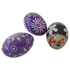 3 x Vintage Hand Made Wax Resist Traditional Decorated Easter Eggs