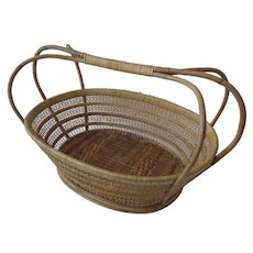 Vintage Chinese Gathering Washing Basket with Shaped Rattan Wrapped Handles