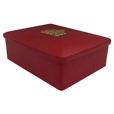 Very Good Looking Vintage Eduscho Kaffee Red Box with Coat of Arms Crest