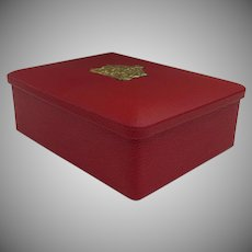 Very Good Looking Vintage Eduscho Kafffee Red Box with Coat of Arms Crest