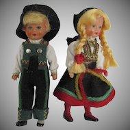 Vintage Dolls Hard Plastic Jointed Arms Legs Boy Girl Norwegian Norway