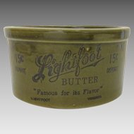 Vintage Lightfoot Butter Crock Advertising Country Kitchen
