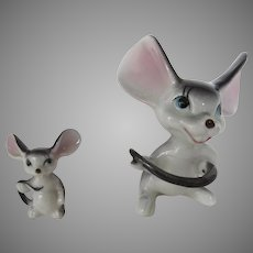 Adorable Vintage Hand-Painted Bone China Mice Japan Big Ears Holding Tails
