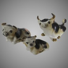Vintage Shiken Bone China Miniature Figurines Cow Steer Bull Family of 3 Made in Japan