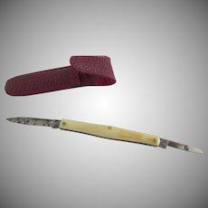 Vintage Richards Sheffield Pocket Two Blade Knife Red Leather Case