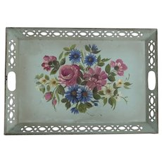 Vintage Hand Painted Tole Tray with Pierced Gallery Edge