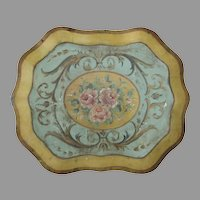 Vintage Shaped Hand Painted Tole Tray Gold Green