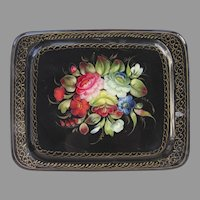 Vintage Russian Hand Painted Tole Tray Floral