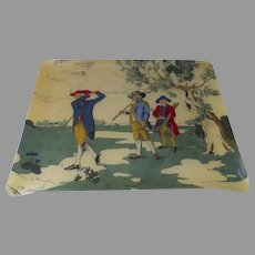 Vintage mid 20th Century Patrick Frey Paris, France Acrylic Serving Tray St. Andrews Golf