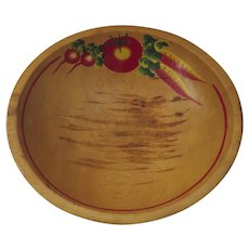 Vintage Hand Painted Wooden Bowl Radish Tomato Carrots Country Kitchen